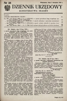 Dziennik Urzędowy Ministerstwa Skarbu. 1949, nr28