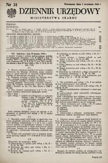 Dziennik Urzędowy Ministerstwa Skarbu. 1949, nr31
