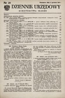 Dziennik Urzędowy Ministerstwa Skarbu. 1949, nr39