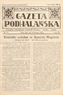 Gazeta Podhalańska : tygodnik poświęcony sprawom Podhala, Spisza, Orawy. 1932, nr17