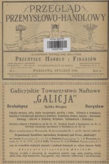 Przegląd Przemysłowo-Handlowy : czasopismo poświęcone sprawom przemysłu, handlu i finansów. R.4, 1924, №1