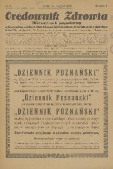 Orędownik Zdrowia : miesięcznik popularny poświęcony walce z chorobami społecznemi a zwłaszcza z gruźlicą. R. 1, 1926, nr1