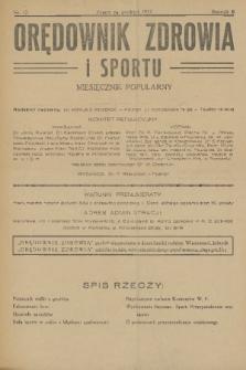 Orędownik Zdrowia i Sportu : miesięcznik popularny. R. 2, 1927, nr12