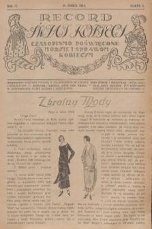 Rekord Świat Kobiecy : czasopismo poświęcone modzie i sprawom kobiecym. R.4, 1924, nr3 + wkładka