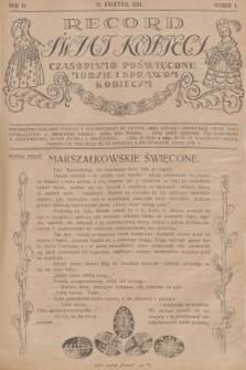 Rekord Świat Kobiecy : czasopismo poświęcone modzie i sprawom kobiecym. R.4, 1924, nr4 + wkładka