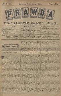 Prawda : tygodnik polityczny, społeczny i literacki. 1905, nr4
