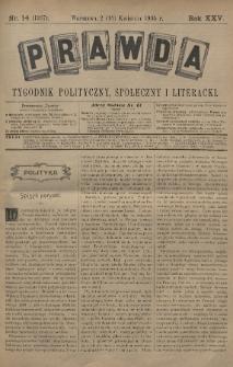 Prawda : tygodnik polityczny, społeczny i literacki. 1905, nr14