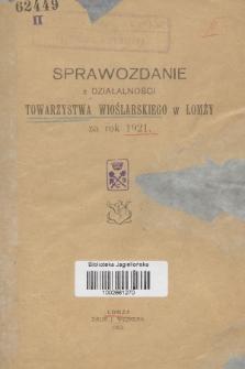 Sprawozdanie z Działalności Towarzystwa Wioślarskiego w Łomży : za rok 1921