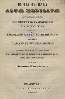 De vi et efficientia aquae medicatae Ivonicensis [...]