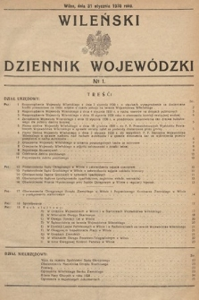 Wileński Dziennik Wojewódzki. 1930, nr1
