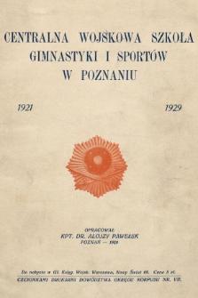 Centralna Wojskowa Szkoła Gimnastyki iSportów wPoznaniu : 1921-1929