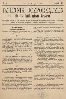 Dziennik Rozporządzeń dla Stoł. Król. Miasta Krakowa. 1919, nr1
