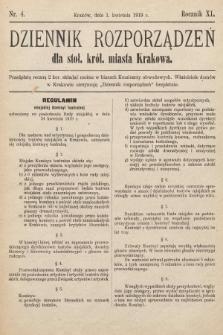 Dziennik Rozporządzeń dla Stoł. Król. Miasta Krakowa. 1919, nr4