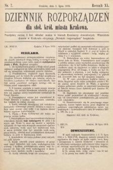 Dziennik Rozporządzeń dla Stoł. Król. Miasta Krakowa. 1919, nr7