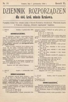 Dziennik Rozporządzeń dla Stoł. Król. Miasta Krakowa. 1919, nr10