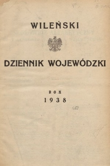 Wileński Dziennik Wojewódzki. 1938, skorowidz alfabetyczny