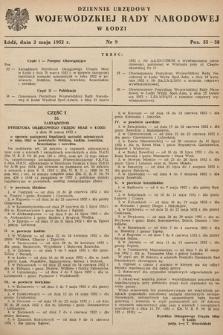 Dziennik Urzędowy Wojewódzkiej Rady Narodowej w Łodzi. 1952, nr9