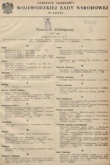 Dziennik Urzędowy Wojewódzkiej Rady Narodowej w Łodzi. 1957, skorowidz alfabetyczny