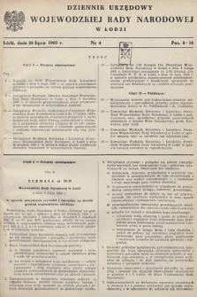 Dziennik Urzędowy Wojewódzkiej Rady Narodowej w Łodzi. 1960, nr4