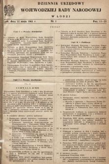 Dziennik Urzędowy Wojewódzkiej Rady Narodowej wŁodzi. 1961, nr3