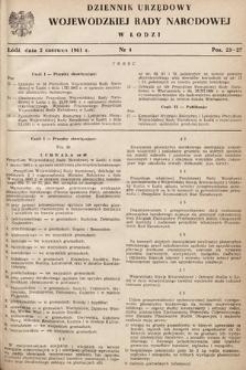 Dziennik Urzędowy Wojewódzkiej Rady Narodowej wŁodzi. 1961, nr4