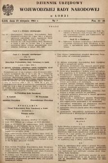 Dziennik Urzędowy Wojewódzkiej Rady Narodowej wŁodzi. 1961, nr7
