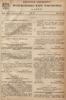 Dziennik Urzędowy Wojewódzkiej Rady Narodowej wŁodzi. 1961, nr10