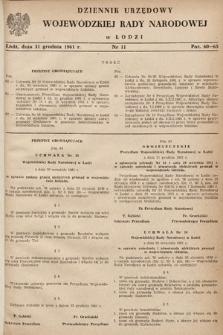 Dziennik Urzędowy Wojewódzkiej Rady Narodowej wŁodzi. 1961, nr11