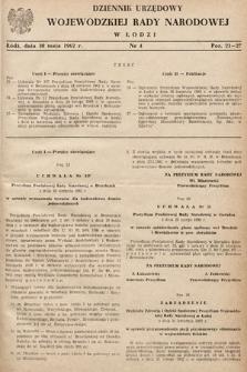 Dziennik Urzędowy Wojewódzkiej Rady Narodowej wŁodzi. 1962, nr4