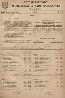 Dziennik Urzędowy Wojewódzkiej Rady Narodowej wŁodzi. 1962, nr5