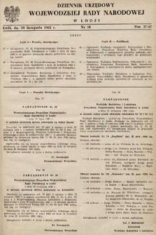 Dziennik Urzędowy Wojewódzkiej Rady Narodowej wŁodzi. 1962, nr10