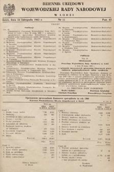 Dziennik Urzędowy Wojewódzkiej Rady Narodowej wŁodzi. 1962, nr11