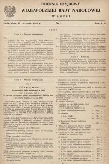 Dziennik Urzędowy Wojewódzkiej Rady Narodowej wŁodzi. 1963, nr1
