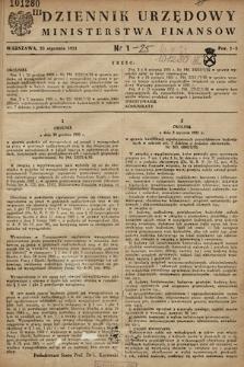 Dziennik Urzędowy Ministerstwa Finansów. 1951, nr1
