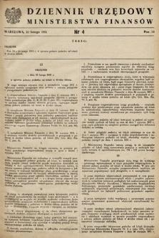 Dziennik Urzędowy Ministerstwa Finansów. 1951, nr4