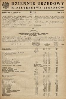 Dziennik Urzędowy Ministerstwa Finansów. 1951, nr13