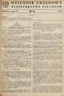 Dziennik Urzędowy Ministerstwa Finansów. 1951, nr14