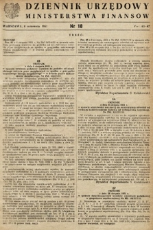 Dziennik Urzędowy Ministerstwa Finansów. 1951, nr18