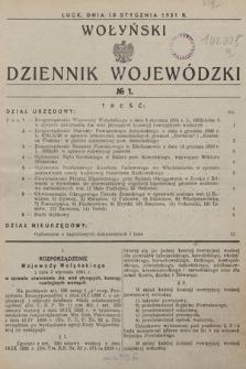 Wołyński Dziennik Wojewódzki. 1931, nr1