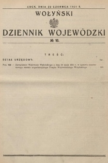 Wołyński Dziennik Wojewódzki. 1931, nr10