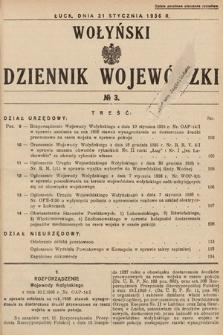 Wołyński Dziennik Wojewódzki. 1936, nr3