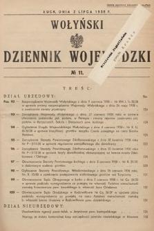 Wołyński Dziennik Wojewódzki. 1938, nr11