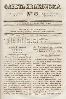Gazeta Krakowska. 1831, nr85