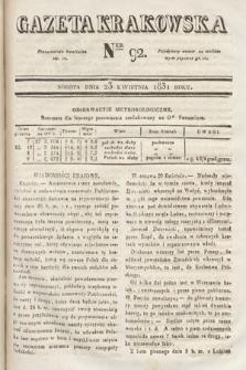 Gazeta Krakowska. 1831, nr92