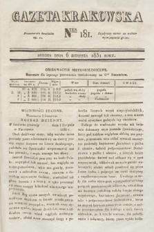 Gazeta Krakowska. 1831, nr181
