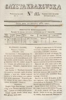 Gazeta Krakowska. 1831, nr185