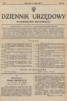 Dziennik Urzędowy Województwa Wołyńskiego. R.7, 1927, nr4