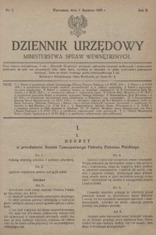 Dziennik Urzędowy Ministerstwa Spraw Wewnętrznych. 1919, nr1