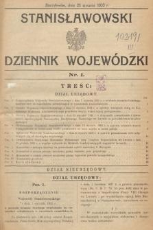 Stanisławowski Dziennik Wojewódzki. 1933, nr1