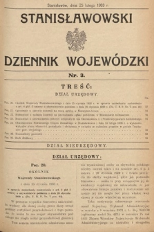 Stanisławowski Dziennik Wojewódzki. 1933, nr3